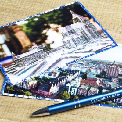 Stadt-Forscher Rostock - Stadtführung & Schnitzeljagd - Postkarten & Stift